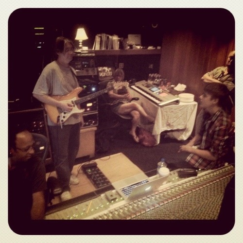 Justin in the studio with his grandparents :)