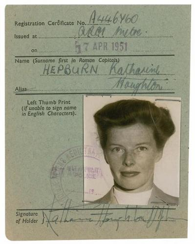 Katharine Hepburn's Certificate of Alien Registration