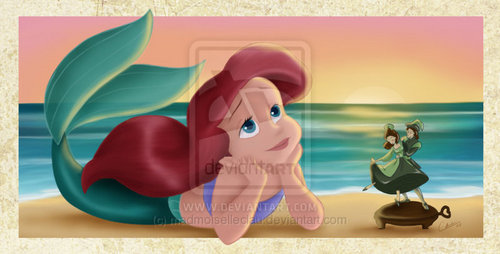 little disney princesses پیپر وال titled Little Ariel