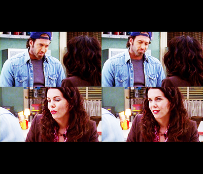 Lorelai Gilmore wallpaper containing a television receiver and a high definition television called Luke and Lorelai ♥