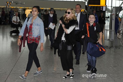 ম্যাডোনা and Family arrive at Heathrow Airport in London, Sept 4