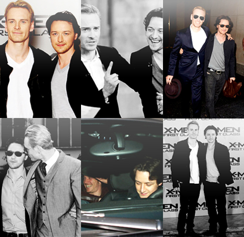 James McAvoy and Michael Fassbender 壁紙 containing a business suit, a suit, and a dress suit entitled McFassy