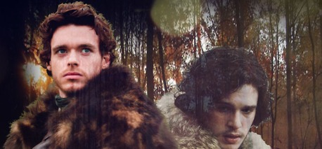 Jon Snow and Robb Stark wallpaper containing a pelliccia cappotto and a visone called Robb Stark and Jon Snow