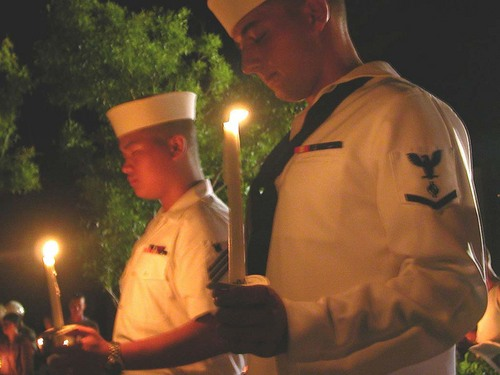 Sailors at a candlelight service