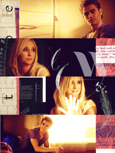 The Vampire Diaries Couples Hintergrund containing a newspaper entitled Steroline