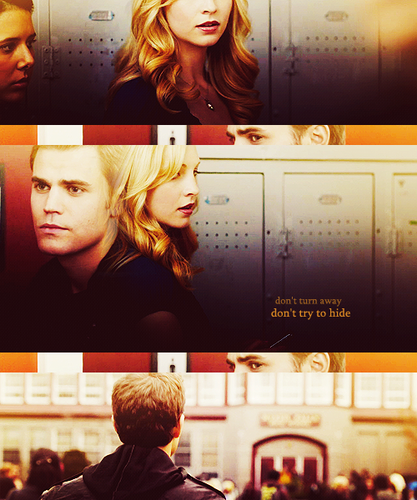 The Vampire Diaries Couples wallpaper possibly containing a sign and a diner called Steroline