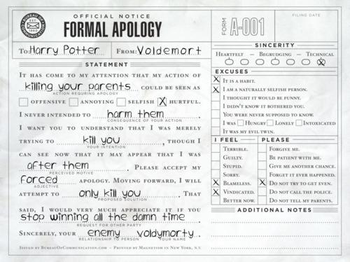 Voldemort's Apology
