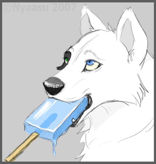 Wolf eating sea salt ice cream