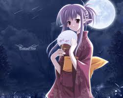 anime elf with fan