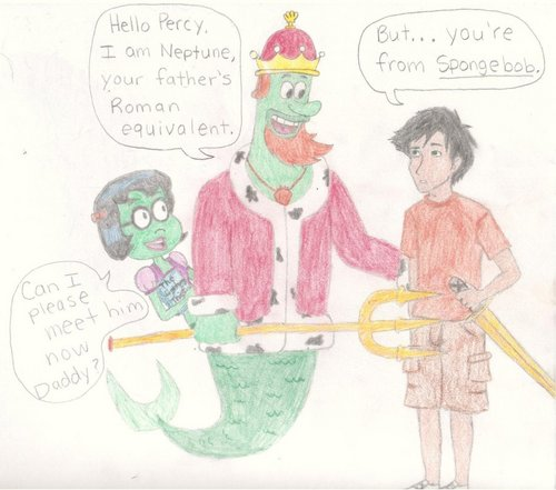 percy meets neptune from spongebob