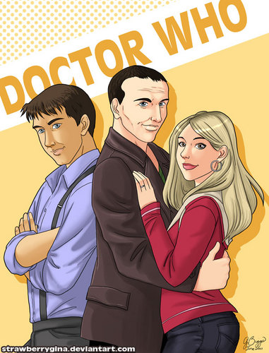 9th doctor with Rose and Jack