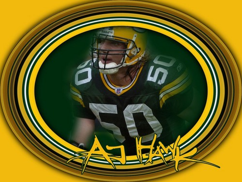 Green baai, baai, bay Packers achtergrond called A.J. Hawk