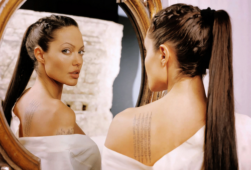 Angelina Jolie wallpaper containing a bridesmaid and a portrait called AJ