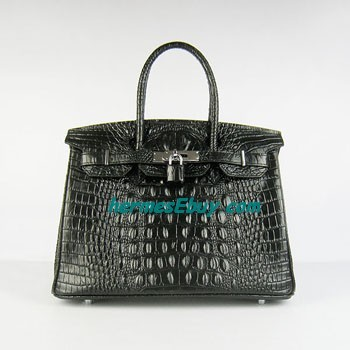 Hermes Birkin 30CM crocodilo head vein handbag 6088 black