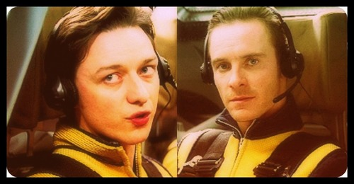 James McAvoy and Michael Fassbender kertas dinding probably with a portrait entitled James & Michael