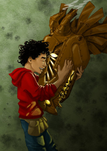 The bayani of Olympus Series wolpeyper probably with a triceratops called Leo and Festus