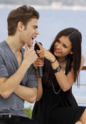 Paul Wesley and Nina Dobrev wallpaper titled Pina! <33