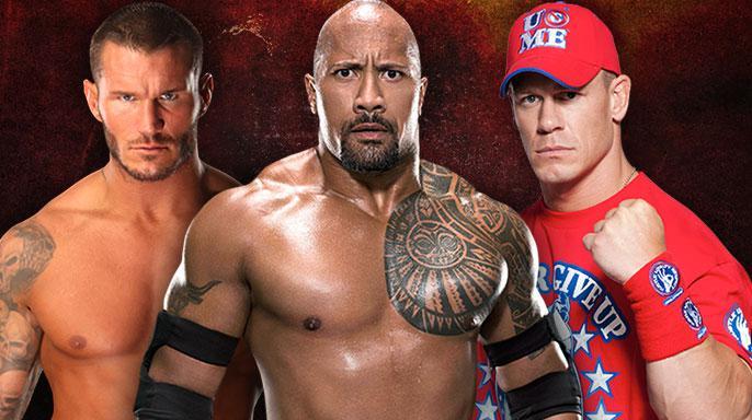 Randy Orton-The Rock-John Cena