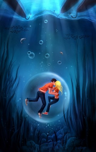 Percy Jackson And Annabeth Chase wallpaper possibly containing a sign called Underwater kiss