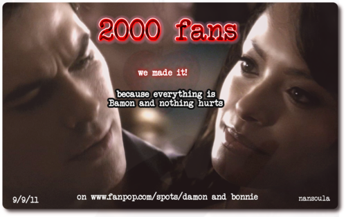 Damon & Bonnie wallpaper probably containing anime titled We made it! 2000 fans before the season premiere!!!