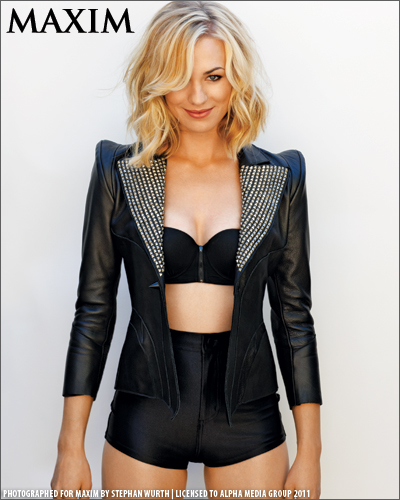 Yvonne Strahovski wallpaper with a legging and a well dressed person called Yvonne Strahovski Photoshoot for the October 2011 Issue of Maxim Magazine