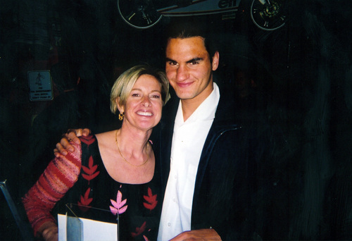 blond woman and federer
