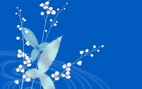 blue flor wallpaper