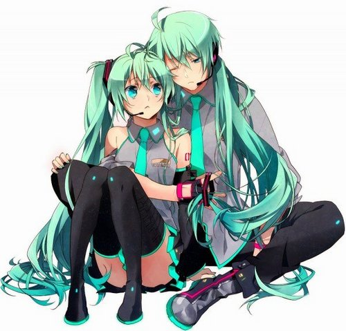 Anime Hintergrund entitled hatsune miku and hatsune mikuo