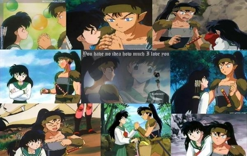 koga and kagome 壁紙 with アニメ called koga and kagome collage
