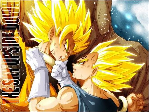 Vegeta X Goku پیپر وال containing عملی حکمت entitled majin vegeta x goku