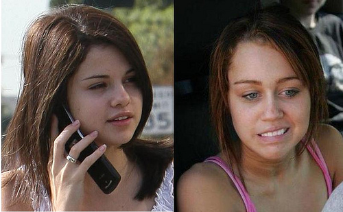 selena and miley with out make up