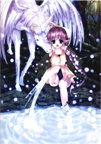 young elf girl with unicorn