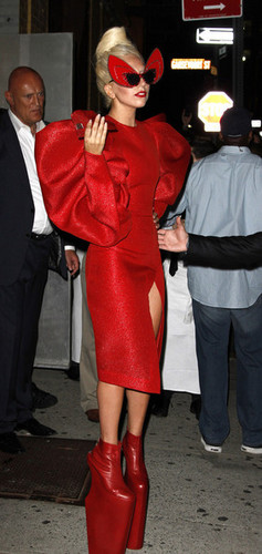 Gaga shows off a little zaidi than she'd hoped in a red crotch revealing outfit.