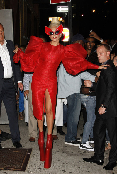 Gaga shows off a little more than she'd hoped in a red crotch revealing outfit.