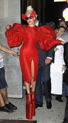 Gaga shows off a little 더 많이 than she'd hoped in a red crotch revealing outfit.