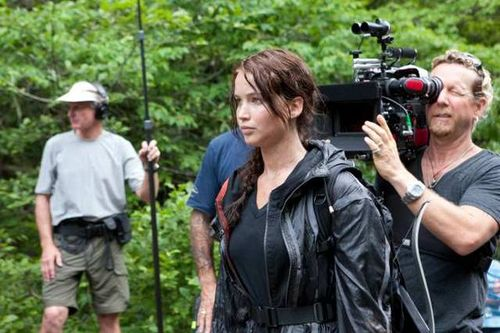 The Hunger Games wallpaper possibly containing a rifleman called Behind the scenes of 'The Hunger Games'
