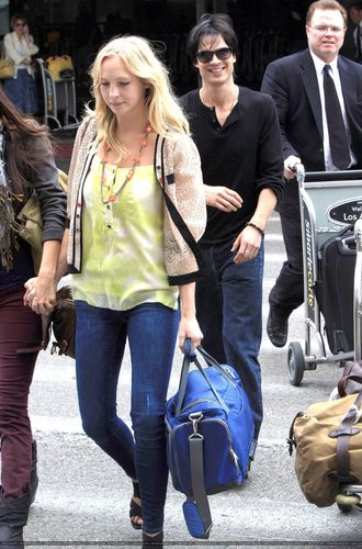Candice arriving at LAX airport with her TVD co-stars!