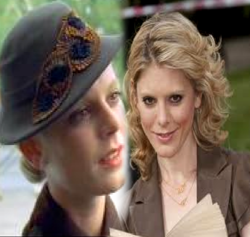 Emilia Fox- Curly hair and cute hat!