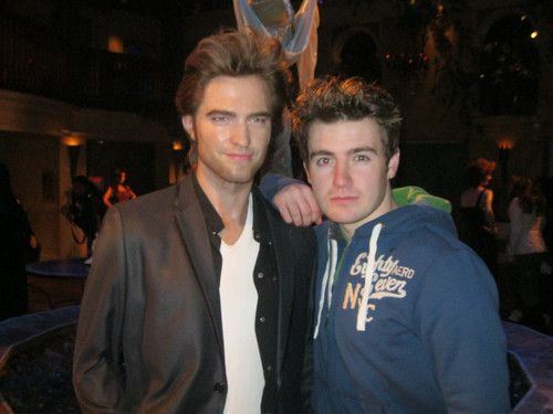 Emmet at the wax museum with Robert Pattinson
