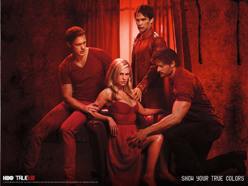 True Blood wallpaper containing a concert entitled Eric,Bill,Sookie&Alcide