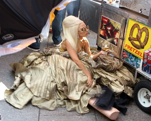Gaga on the set of a photoshoot for Vanity Fair in NYC