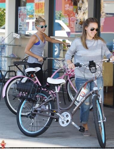 Haylie & Ashley Tisdale bike riding in Toluca Lake - August 14, 2011