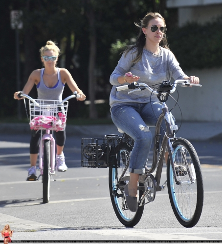 Haylie & Ashley Tisdale bike riding in Toluca Lake - August 14, 2011