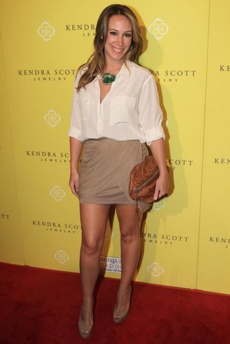 Haylie Duff wallpaper probably with bare legs, an outerwear, and a well dressed person titled Haylie - Kendra Scott Jewelry Of Beverly Hills Grand Opening Benefiting - August 10, 2011