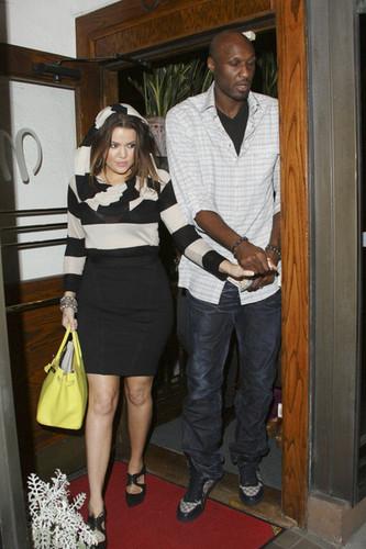Khloe Kardashian and Lamar Odom in Beverly Hills