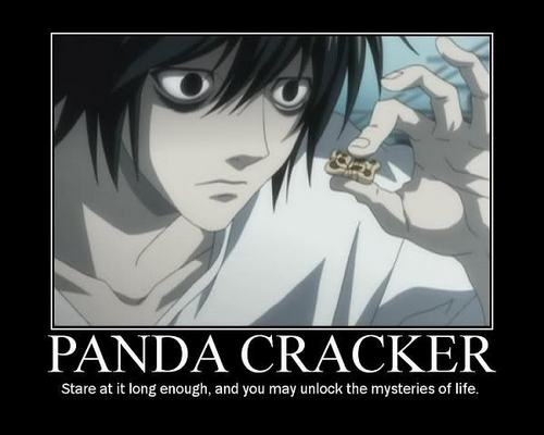 Death Note achtergrond containing anime titled L's Panda kraker, cracker