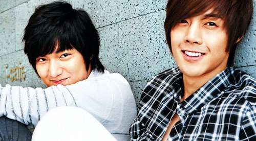 Lee Min Ho wallpaper with a bearskin entitled Lee Min Ho and Kim Hyun Joong
