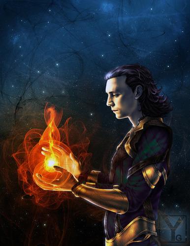 Loki (Thor 2011) fondo de pantalla possibly containing a fuego and a fuego titled Loki Fanart