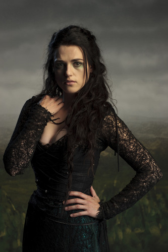 "Katie McGrath kertas dinding possibly with a box coat, a well dressed person, and an outerwear titled Morgana - ""Merlin"" season 4"