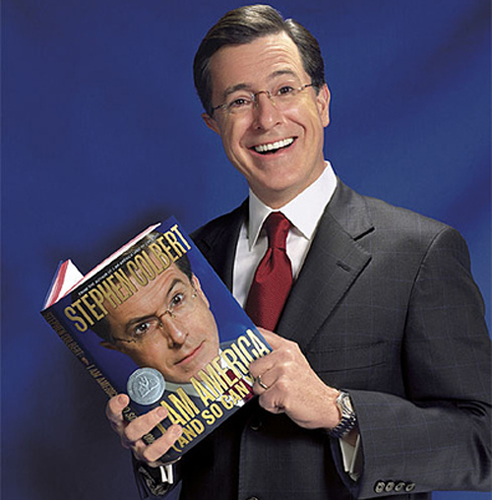 Stephen Colbert wallpaper containing a business suit and a suit called My favorite Correspundit!